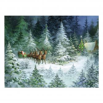 sleigh in forest cancer research uk christmas card