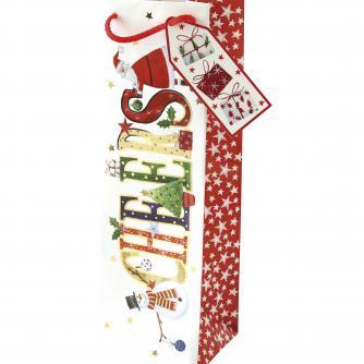Whimsical Bottle Bag Cancer Research uk Christmas Bag
