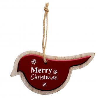 Wooden Bird Red Cancer Research uk Christmas Gift